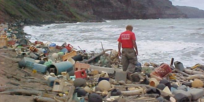 Marine debris washed ashore on Hawaii (Wikipedia)